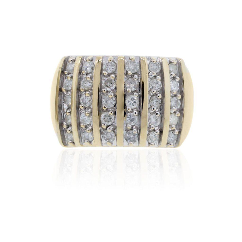 14k Yellow gold Multi Row 1.50ctw Diamond Mens Ring