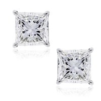 14k White Gold 2ctw Princess Cut Diamond Stud Earrings