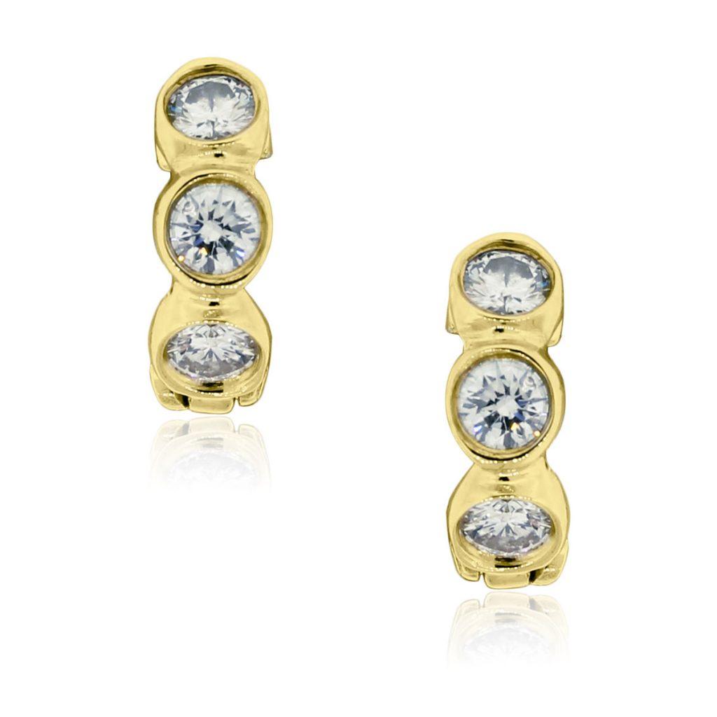 14k Yellow Gold .70ctw Bezel Set Diamond Huggie Earrings