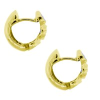 14k Yellow Gold .70ctw Bezel Set Diamond Huggie Earrings