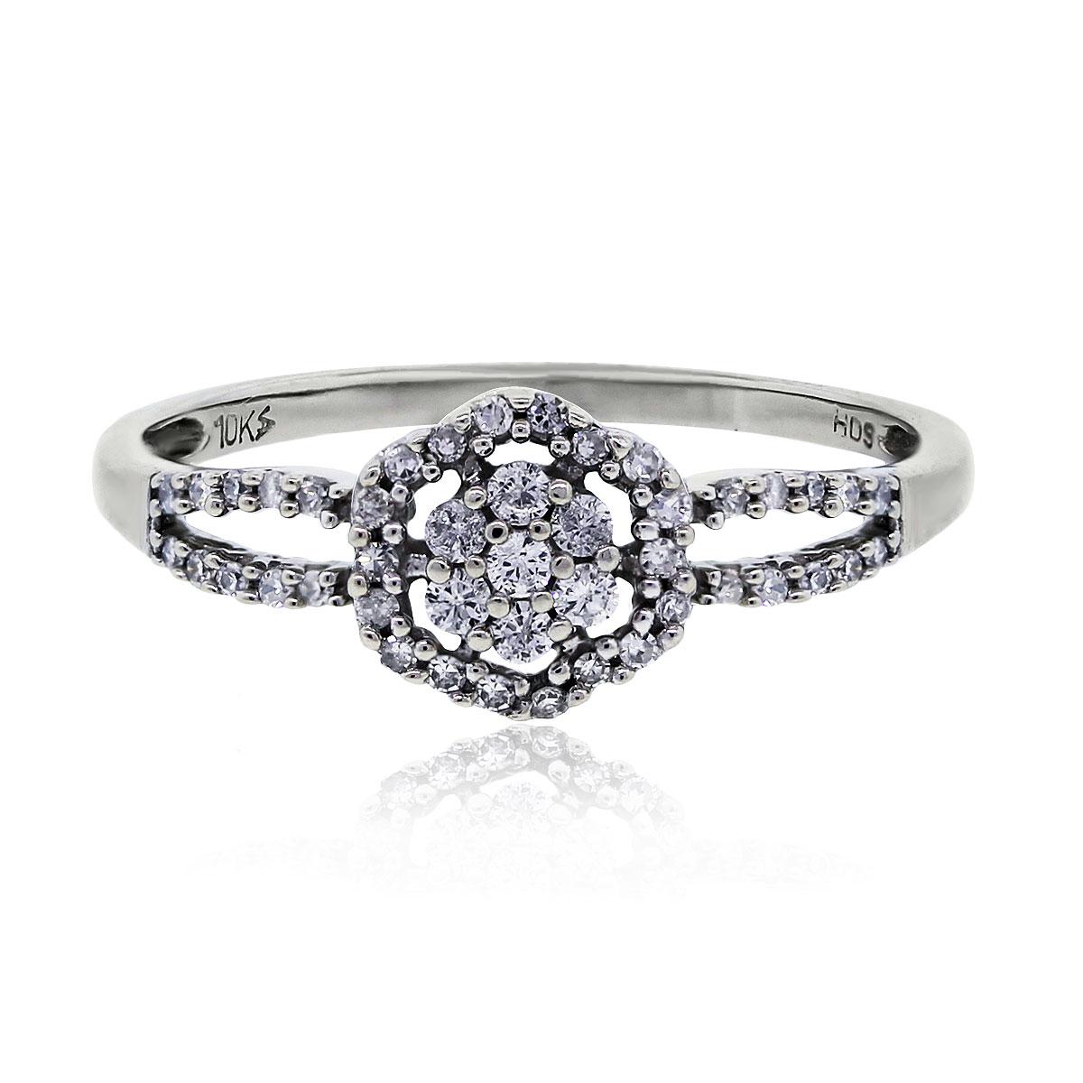 White Gold 0.35ctw Round Brilliant Diamond Flower Ring