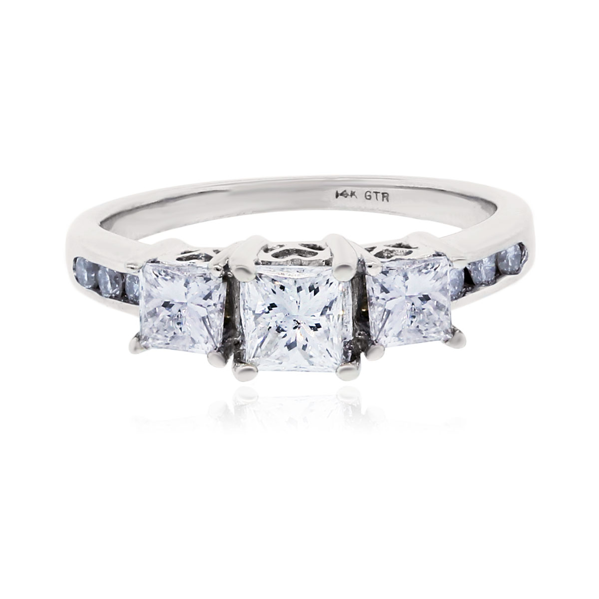 14k White Gold 1.10ctw Princess Cut Diamond Engagement Ring