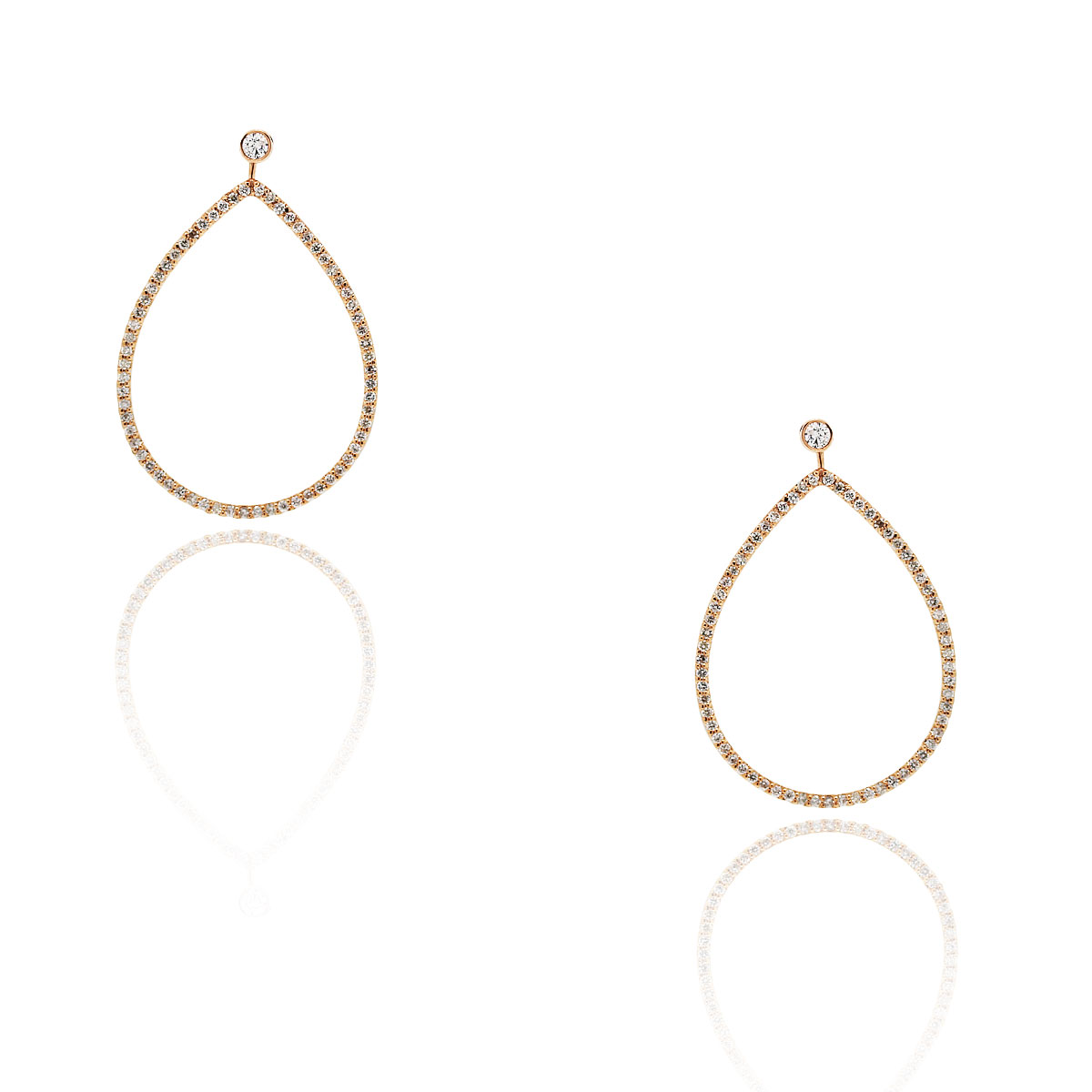 14k Rose Gold 1.03ctw Diamond Dangle Earrings