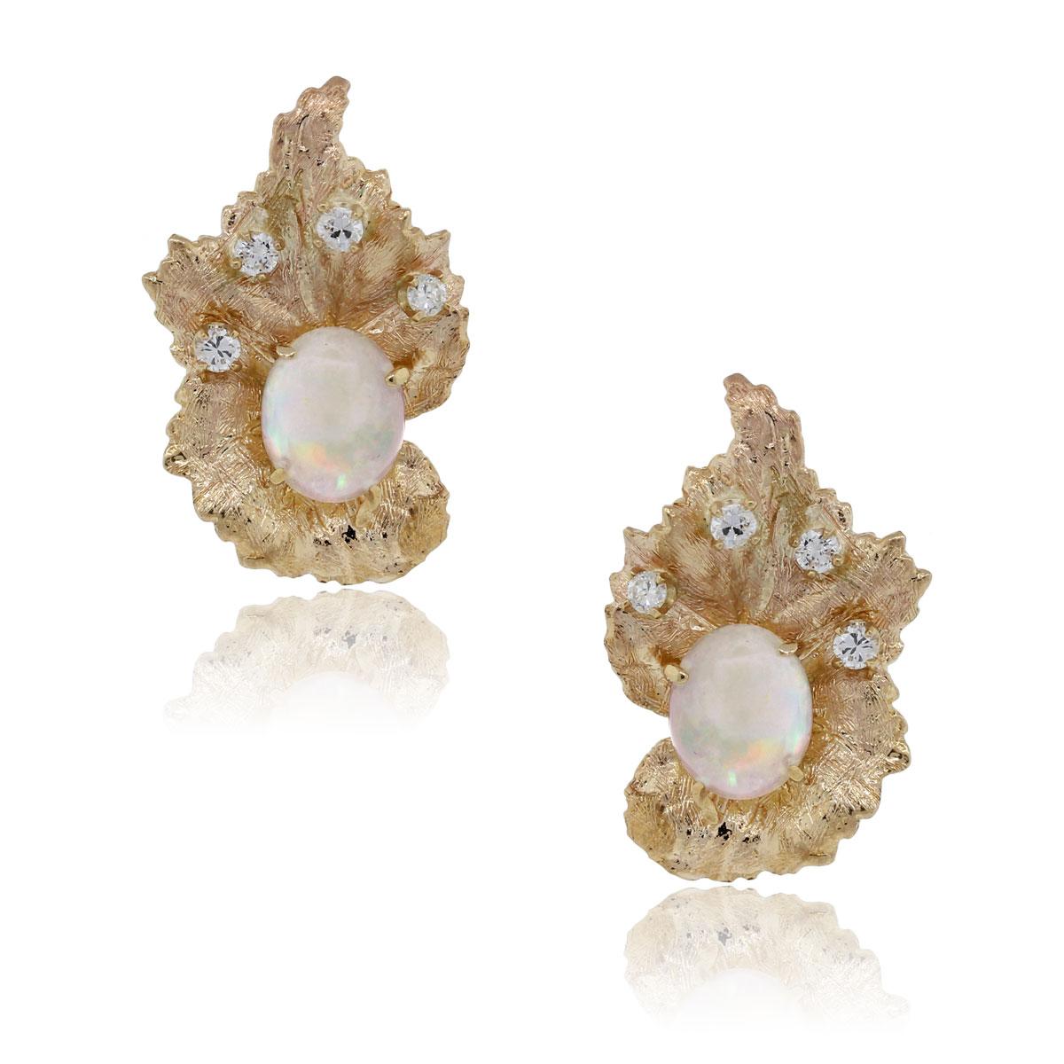 14k Yellow Gold Cabochon Opal .20ctw Diamond Earrings