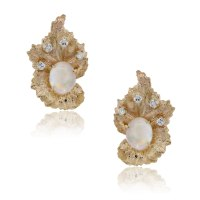14k Yellow Gold Cabochon Opal .20ctw Diamond Earrings