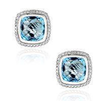 David Yurman Albion Diamond & Blue Topaz Earrings