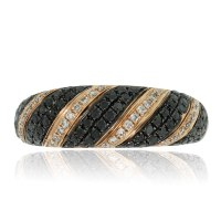 14k Rose Gold Black and White Diamond Pave Ring