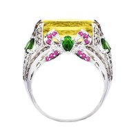 14k White Gold Diamond, Citrine & Green Garnet Ring