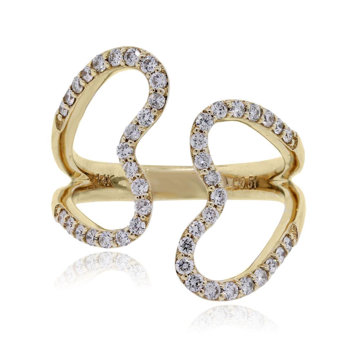 Yellow Gold Open Heart diamond ring 14k gold heart ring