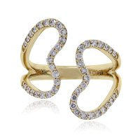 Yellow Gold Open Heart diamond ring 14k gold heart ring
