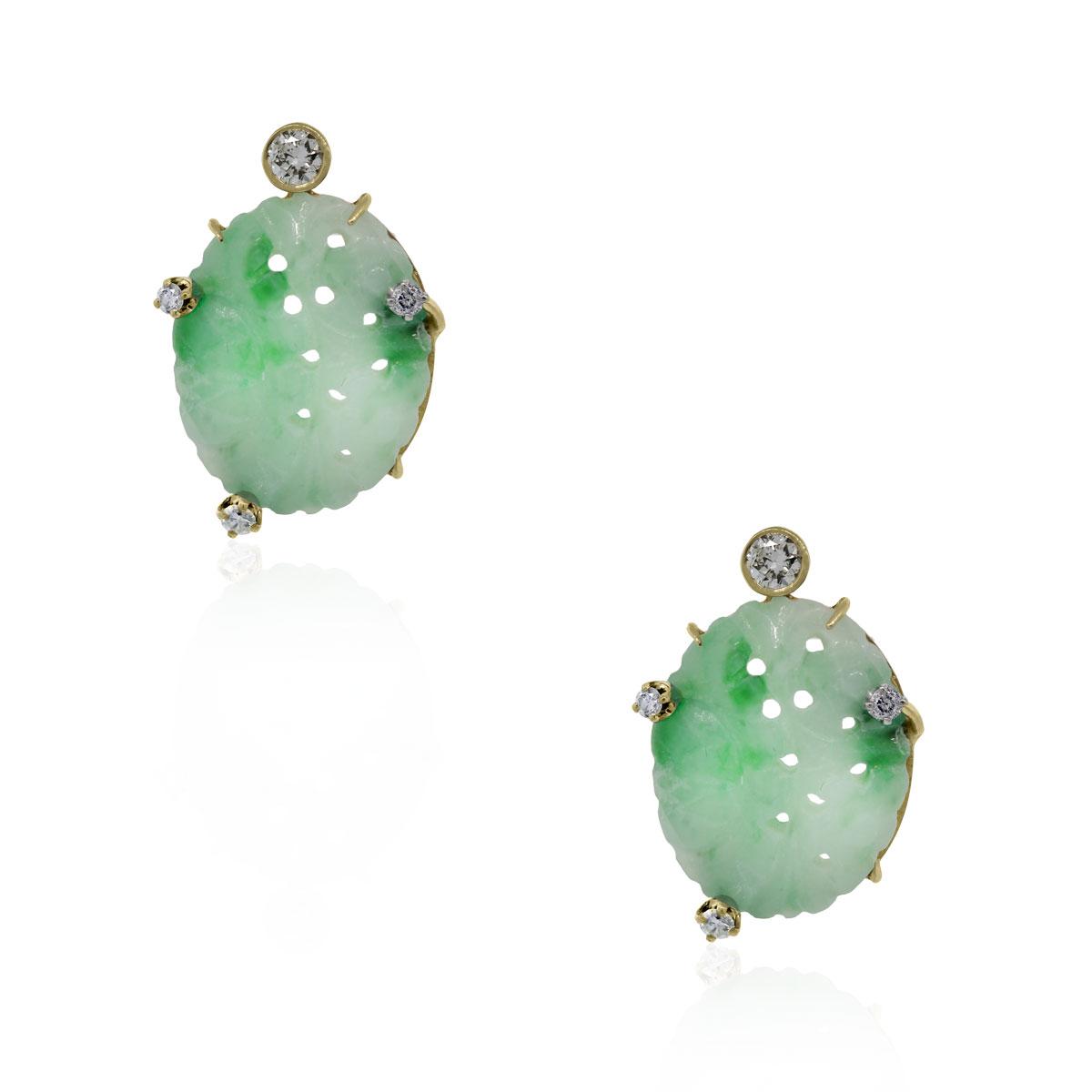 Jade Earrings with 0.20ctw Diamonds in 14k Yellow Gold