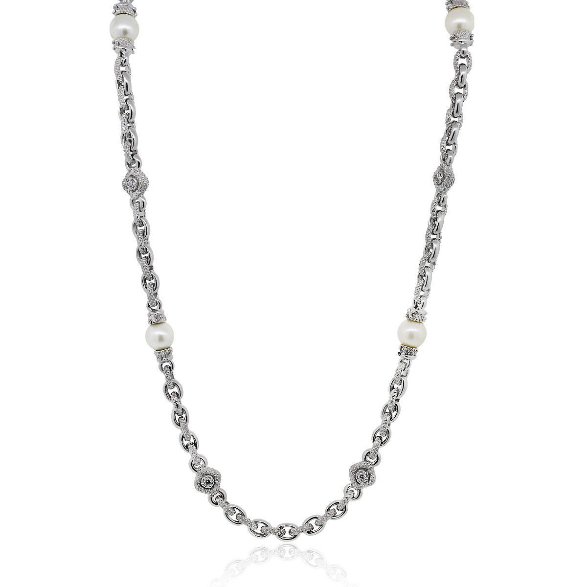 Judith Ripka 18k White Gold Diamond Amp Pearl Necklace