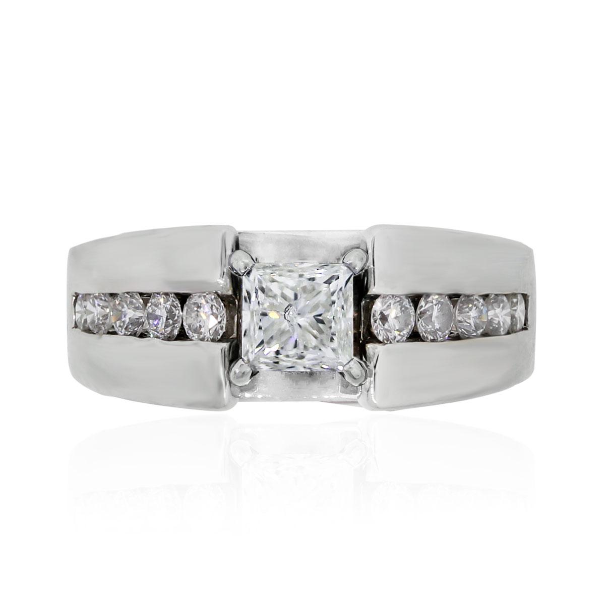 14k White Gold .95ct Princess Cut Diamond Engagement Ring