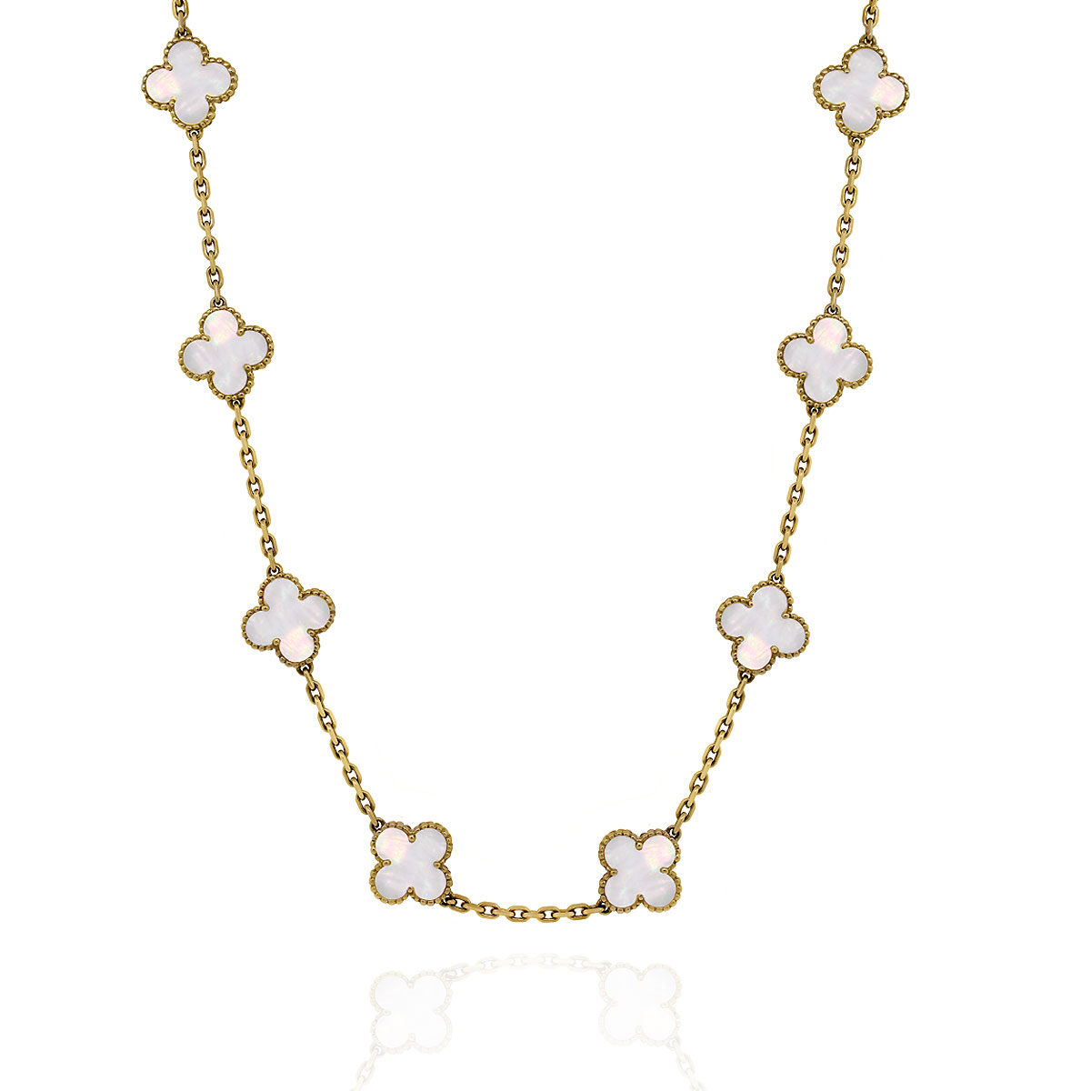 Van Cleef Amp Arpels Alhambra Mother Of Pearl 10 Motif Necklace
