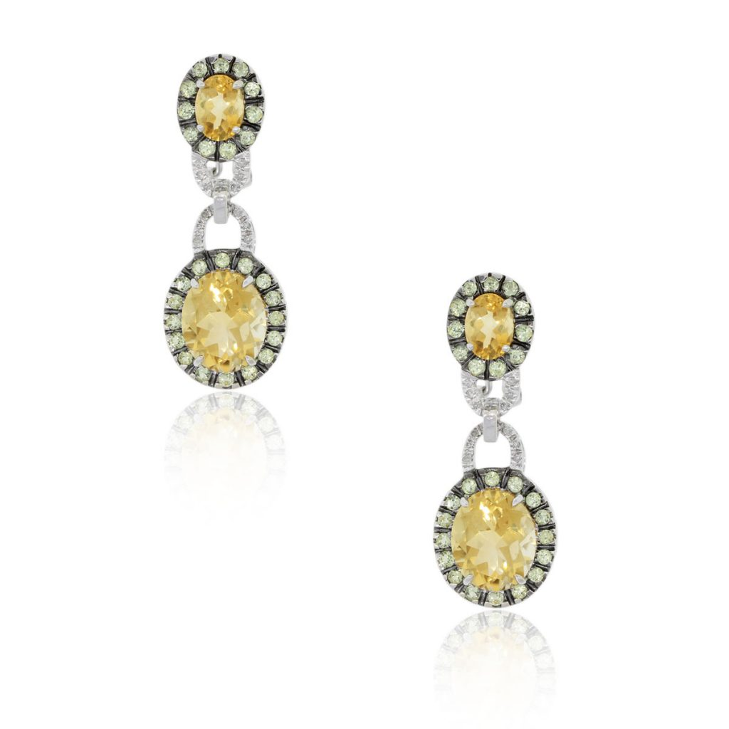 14k White Gold Diamond Citrine Dangle Earrings