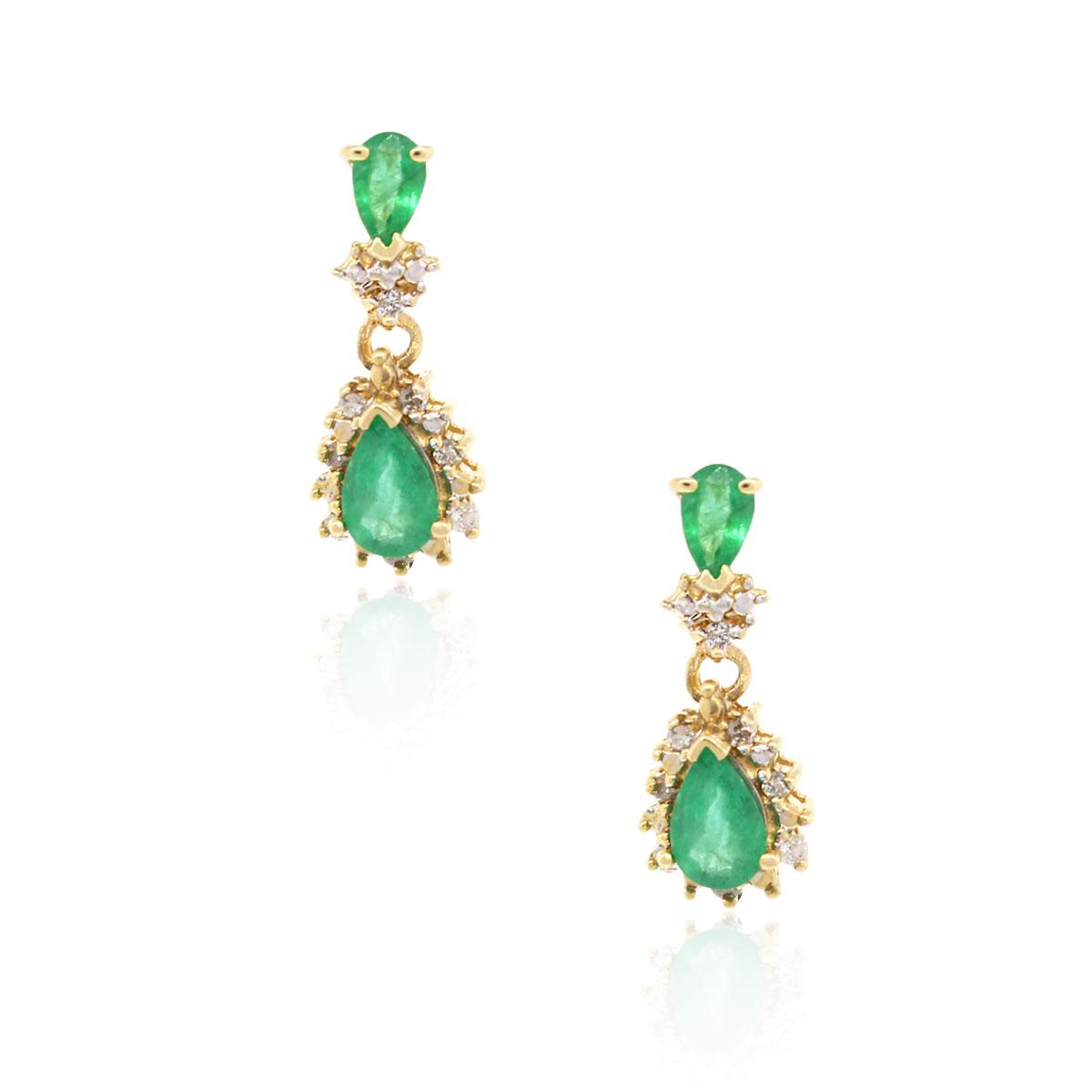 14k Yellow Gold Diamond Emerald Earrings