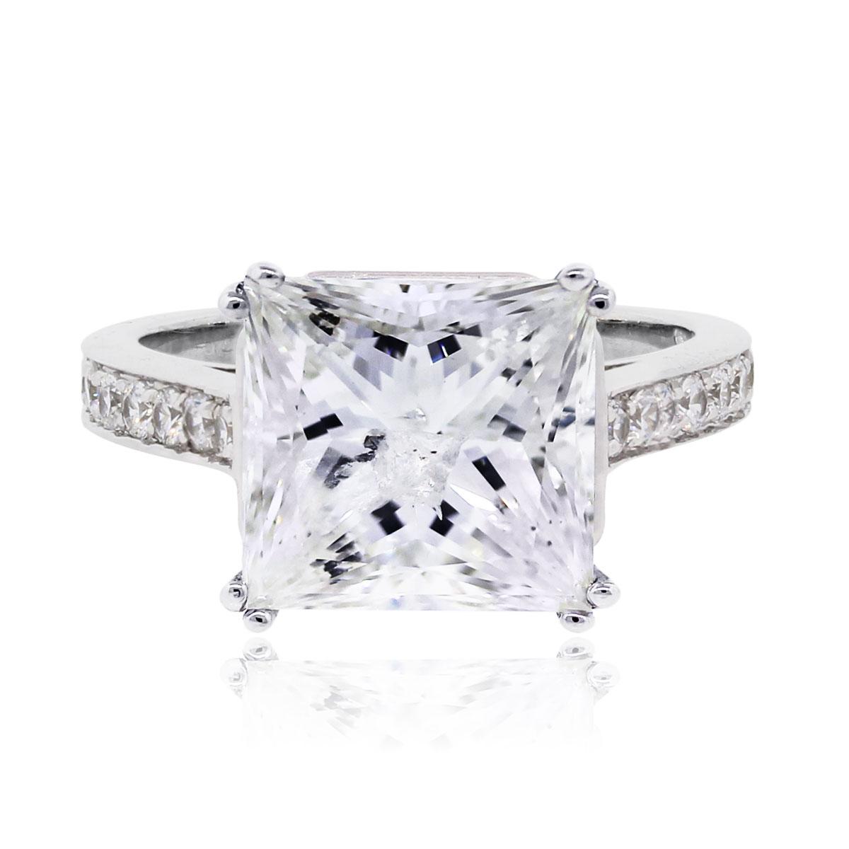 14k White Gold Princess Cut Diamond Engagement Ring 5.54ct