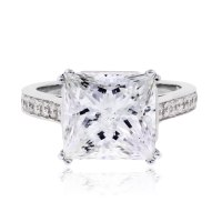 14k White Gold Princess Cut Diamond Engagement Ring 5.54ct