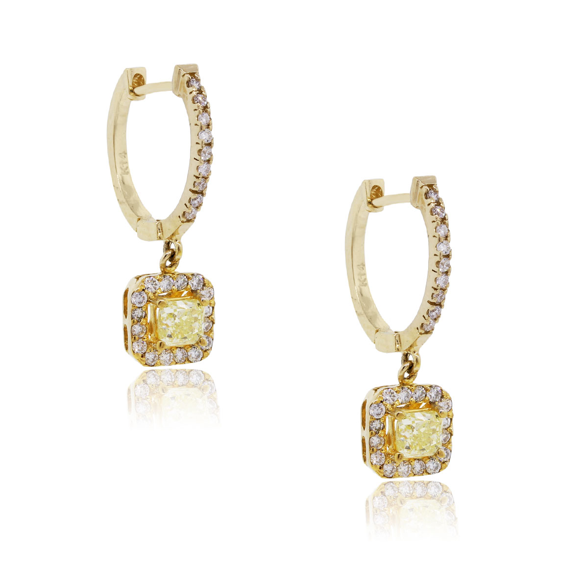 14k Yellow Gold Natural Yellow Diamond Dangle Earrings