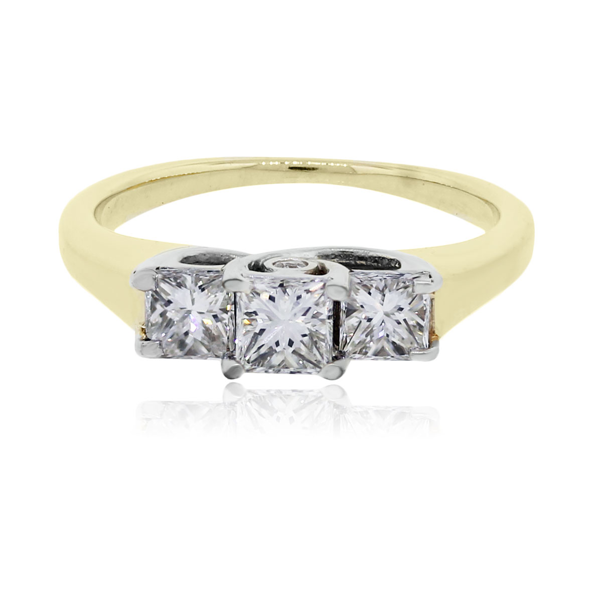 14k Yellow Gold 1ctw Princess Cut Diamond Engagement Ring