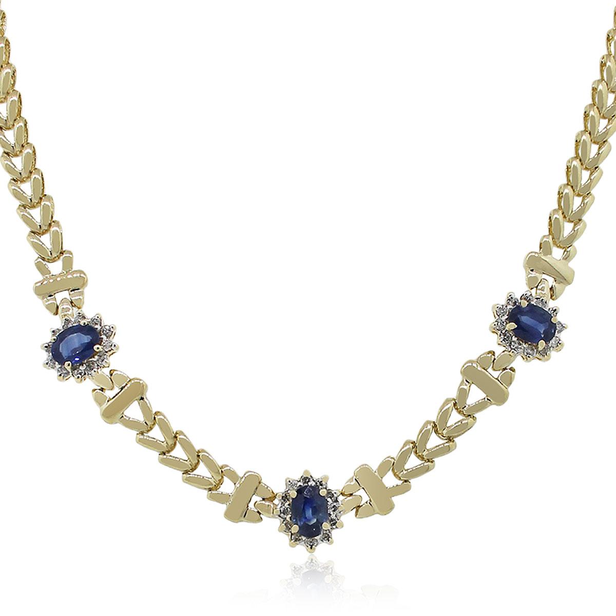 14k Yellow Gold 072ctw Diamond Oval Sapphire Necklace