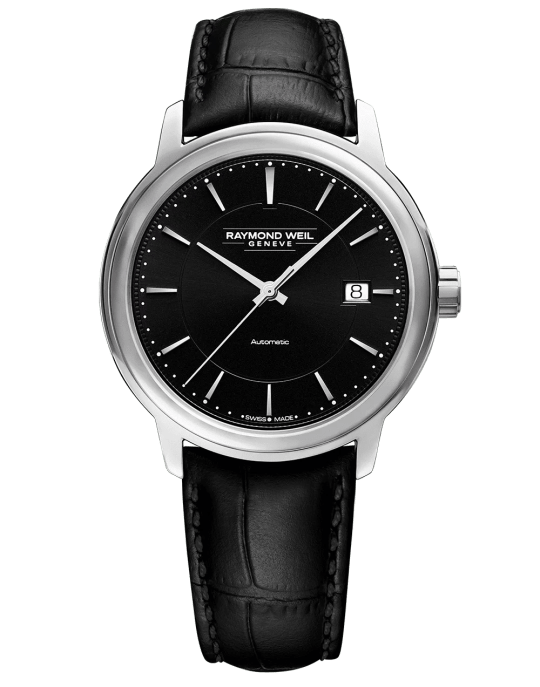 Maestro Men's Black Dial Automatic Leather Watch