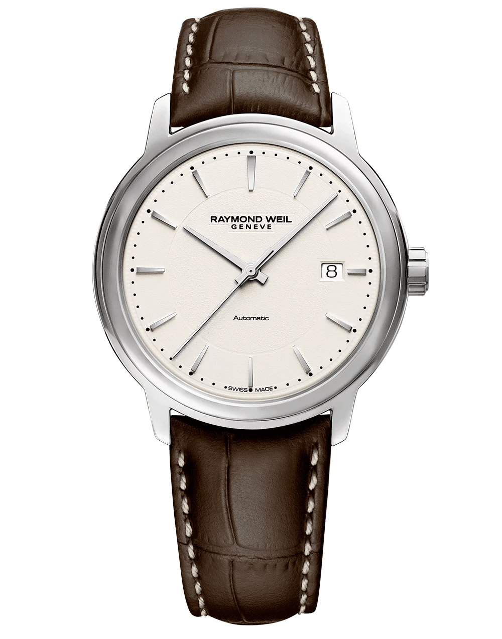 Maestro Men's Ivory Automatic Leather Watch