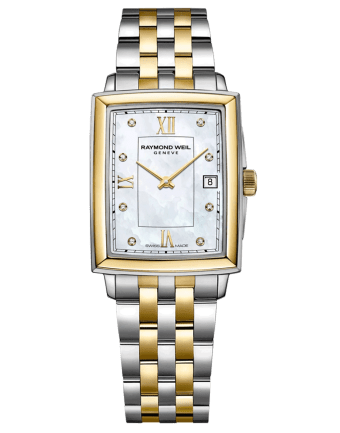 RAYMOND WEIL Toccata Square Two-Tone Mother of Pearl Diamond Indexes Quartz Watch