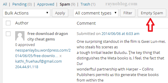 xoa comments spam trong wordpress