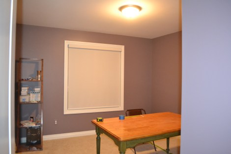 "Ceiling/Trim color is ""Swiss Coffee"" and the wall color is ""Enigma"""