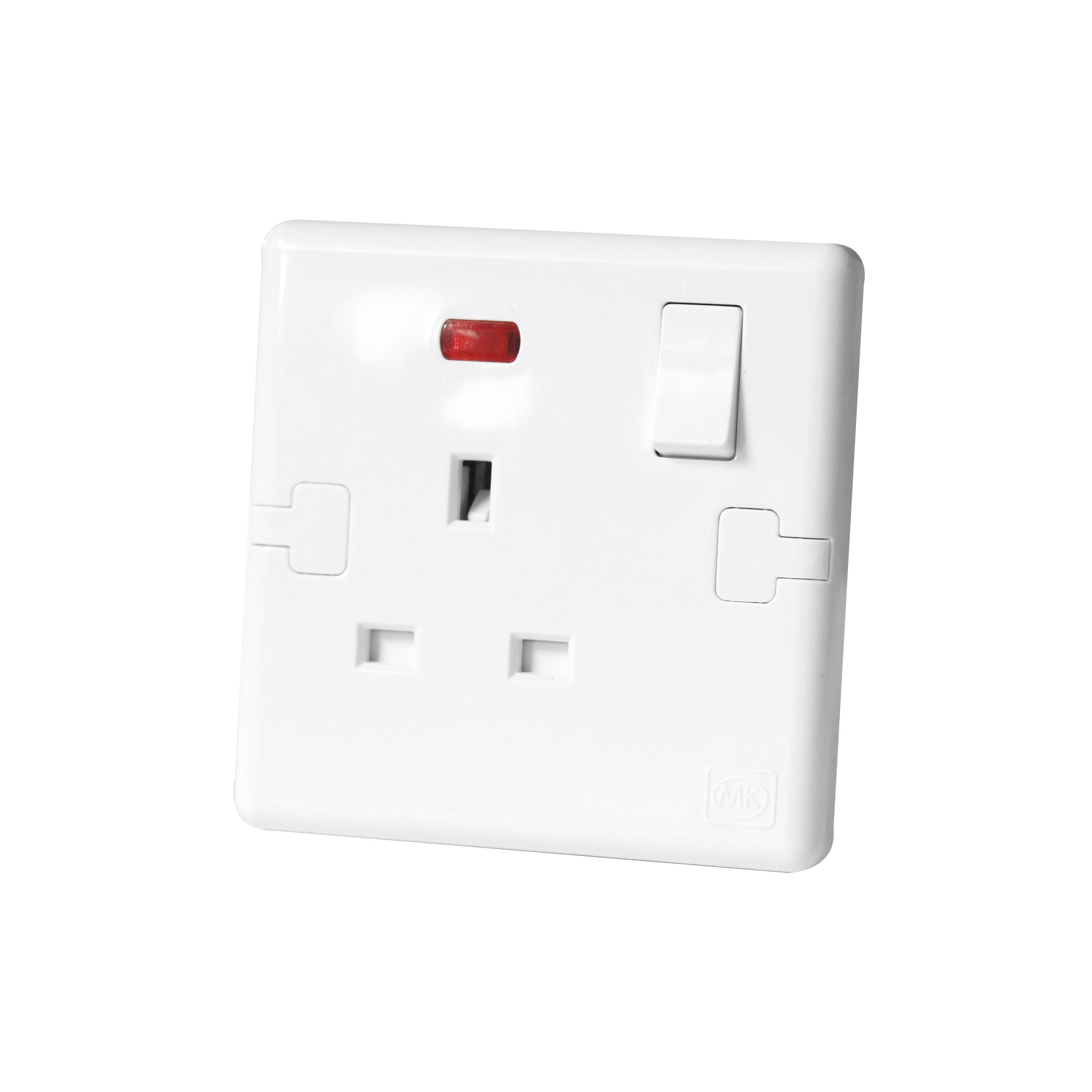 Switched Socket 13a 1gang Neon Mk Honeywell Ecore