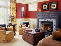Contemporary Red Living Room Interior Ideas With Living ...