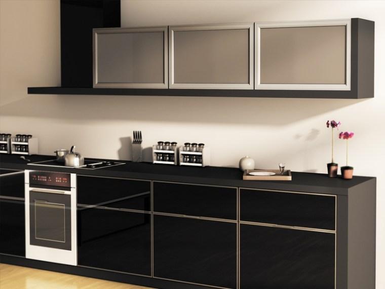 modern-black-Cheap-Kitchen-Cabinets-Refacing-Ideas