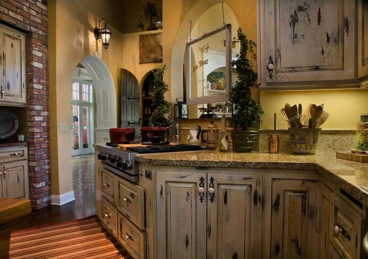wooden-Cheap-Kitchen-Cabinets-Refacing-Ideas-with-granite-backsplash