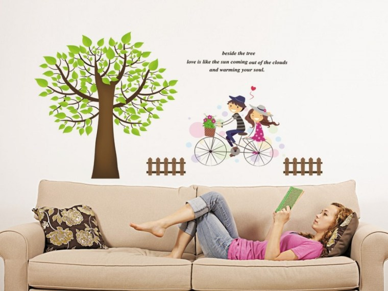 cartoon removeable vinyl sticker living room decorative wall decals
