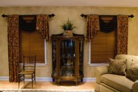 Contemporary Living Room With Rustic Window Treatments ...