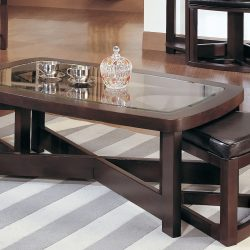 narrow coffee table with storage and leather ottomans