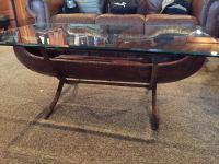 Black Rustic Canoe Coffee Table Glass Top | Raysa House