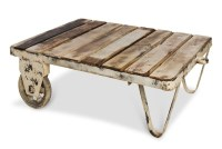 White Distressed Wood Coffee Table Furniture