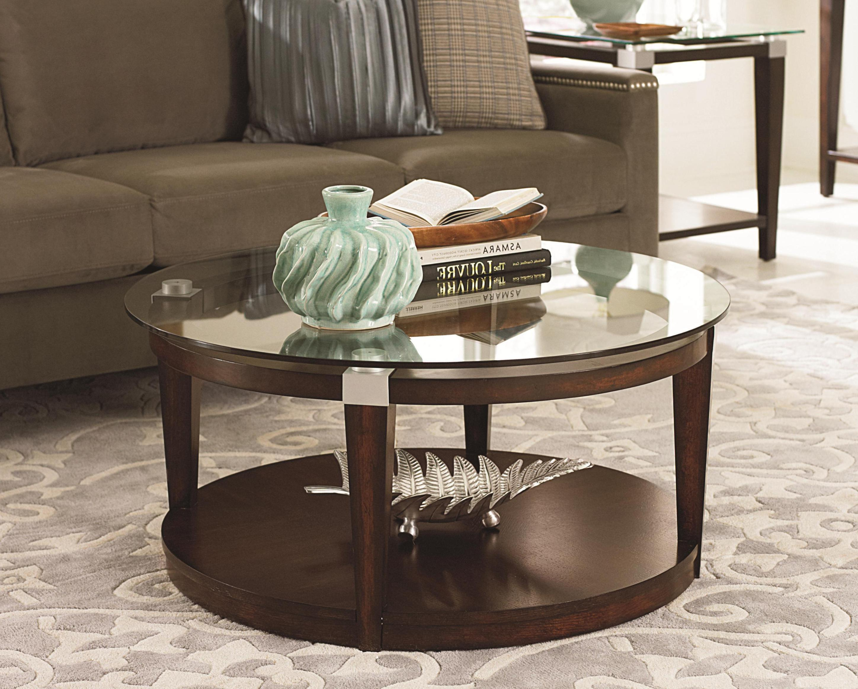 round glass top coffee table with wood