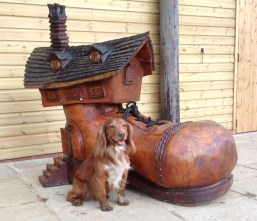 Max and our newest wood sculpture