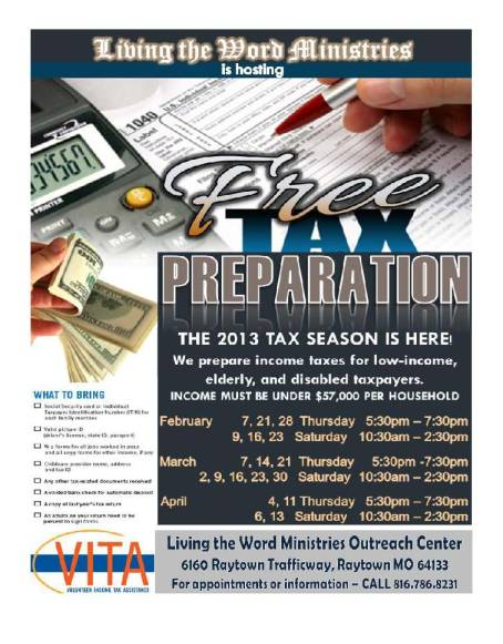 Free Tax Prep 2013 flyer LWTC