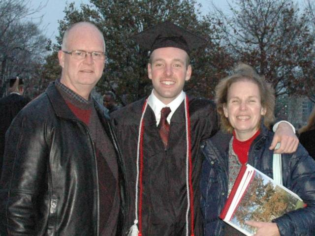 Father Dan Blevins (L), Derek, and Derek's mom, Carol Blevins (R)