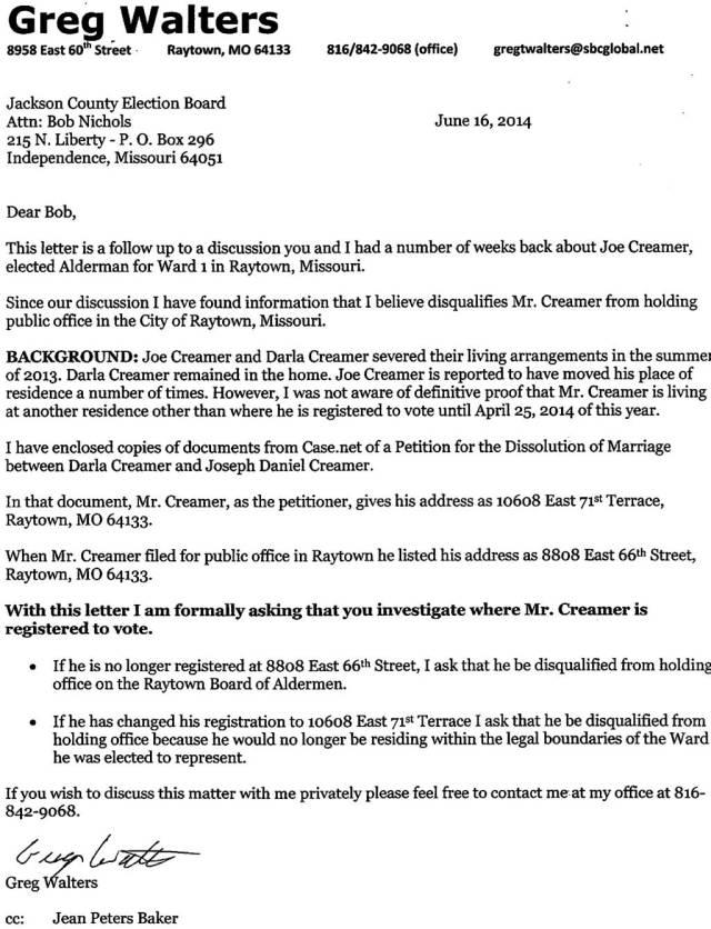 Creamer Residency Complaint