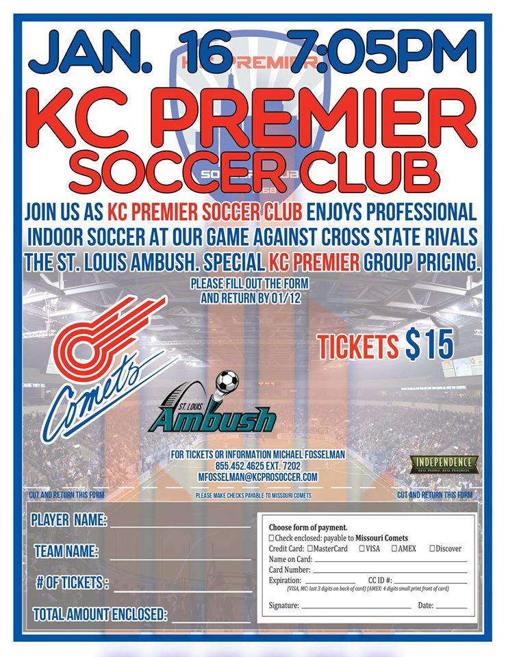 Raytown Soccer Club featured at Comets Indoor Soccer game