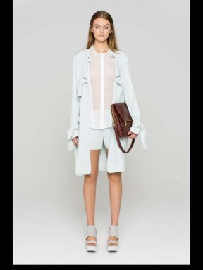ALC Fashion Week 2014 Spring Summer Style.com white ready to wear with leather brown bag shorts shirt neat and clean_1