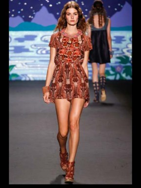 Anna Sui Hip hippie sheer chiffon elegance tailored tweed emroiderry sequence print hip funky pop Spring Summer 2014 fashionweek paris london milan newyork nyc-6