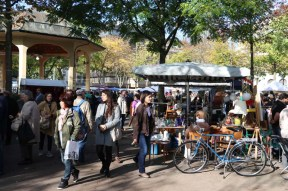 A busy flea market at the old town center of Zurich