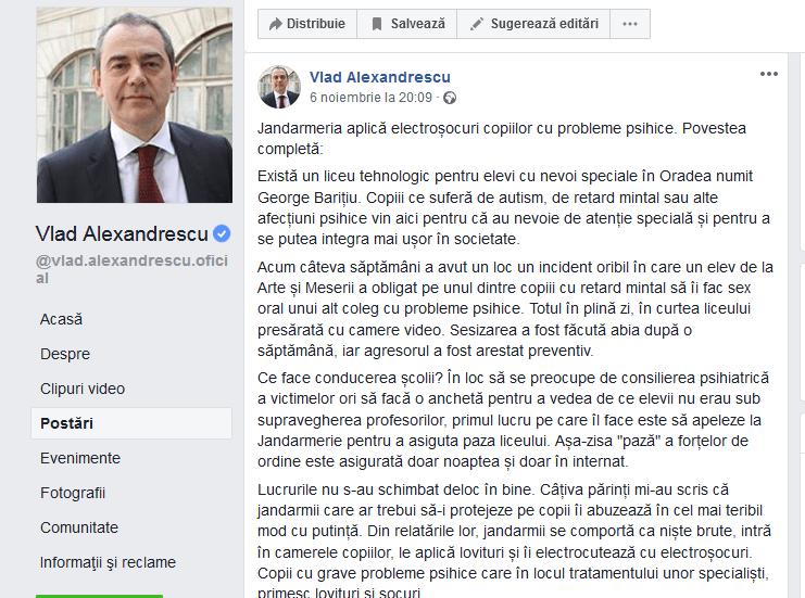 """ScreenShot 20181108184259 - Senatorul Vlad Alexandrescu acuzaţii grave: Răspândire de """"Fake News"""""""