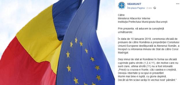 """ScreenShot 20190112235259 - Plângere în legătură cu intonarea Imnului României de către Corul """"Madrigal""""."""
